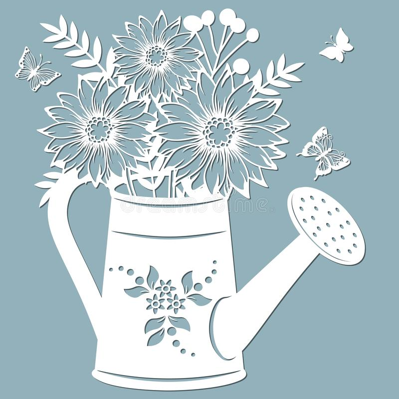 Chrysanthemum in a jar of water. watering can. Vector illustration. Paper flower, stickers. Laser cut. Template for Plotter. Pattern for the laser cut stock illustration