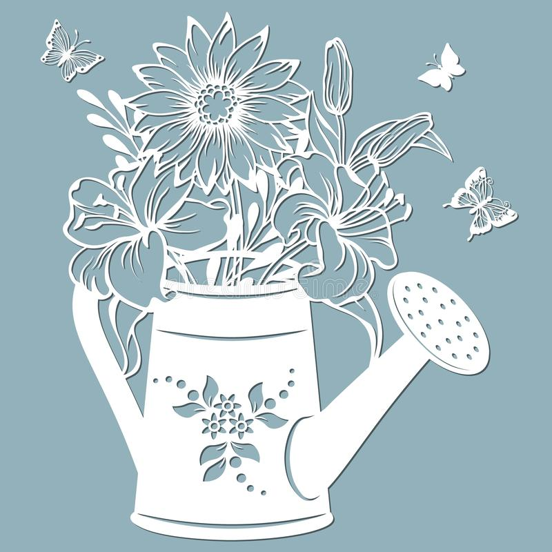 Chrysanthemum and Lily in a jar of water. watering can. Vector illustration. Paper flower, stickers. Laser cut. Template for. Plotter. Pattern for the laser cut vector illustration