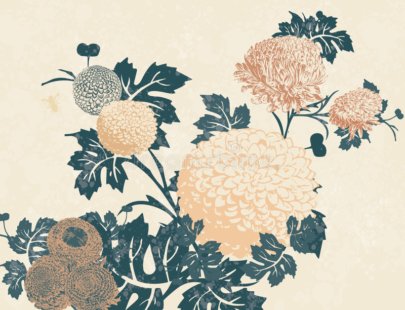 Chrysanthemum Print. Floral print with chrysanthemums and bees