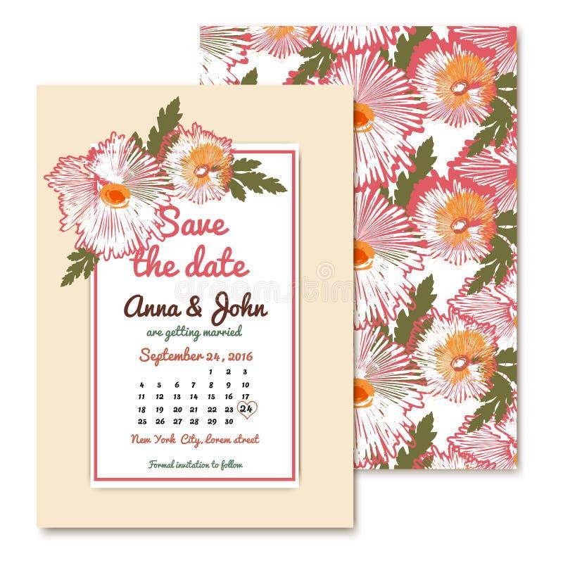 Chrysanthemum wedding invitations in vintage style stock illustration