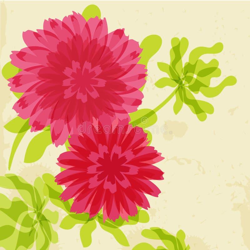Chrysanthemums rouges et oranges sur le fond grunge illustration libre de droits
