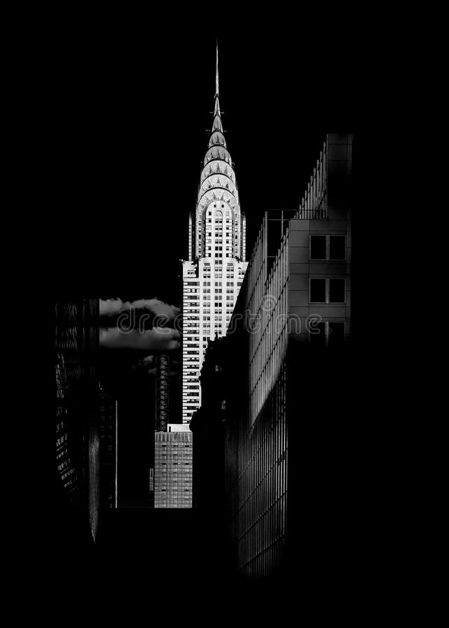 Chrysler Building. B&W photo of Chrysler Building from the distance stock photo