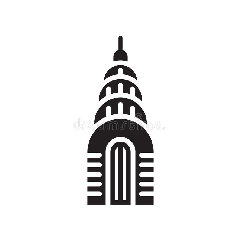 Chrysler building icon vector sign and symbol isolated on white. Chrysler building icon vector isolated on white background for your web and mobile app design royalty free illustration