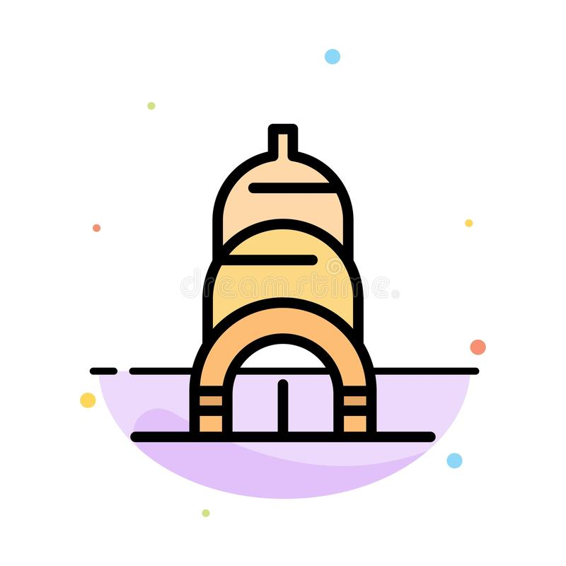 Chrysler, Building, Usa Abstract Flat Color Icon Template royalty free illustration