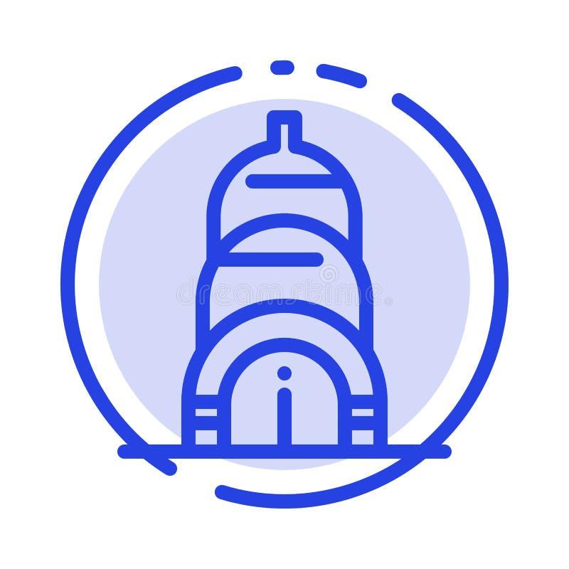 Chrysler, Building, Usa Blue Dotted Line Line Icon stock illustration