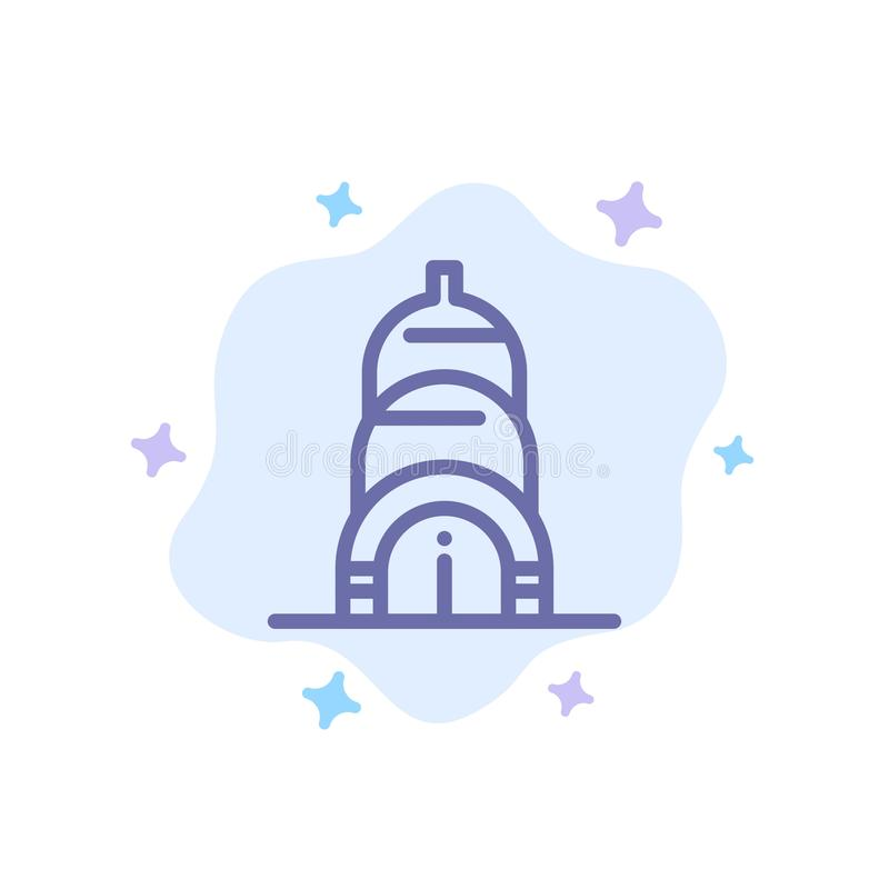 Chrysler, Building, Usa Blue Icon on Abstract Cloud Background stock illustration