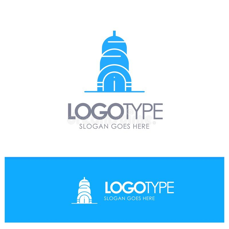 Chrysler, Building, Usa Blue Solid Logo with place for tagline royalty free illustration