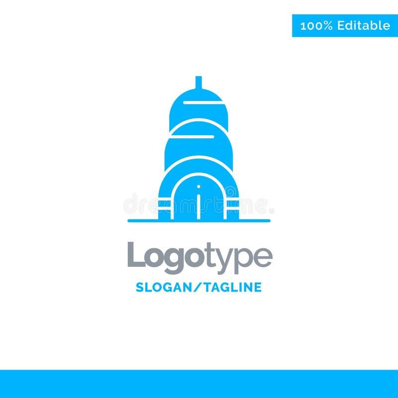 Chrysler, Building, Usa Blue Solid Logo Template. Place for Tagline royalty free illustration
