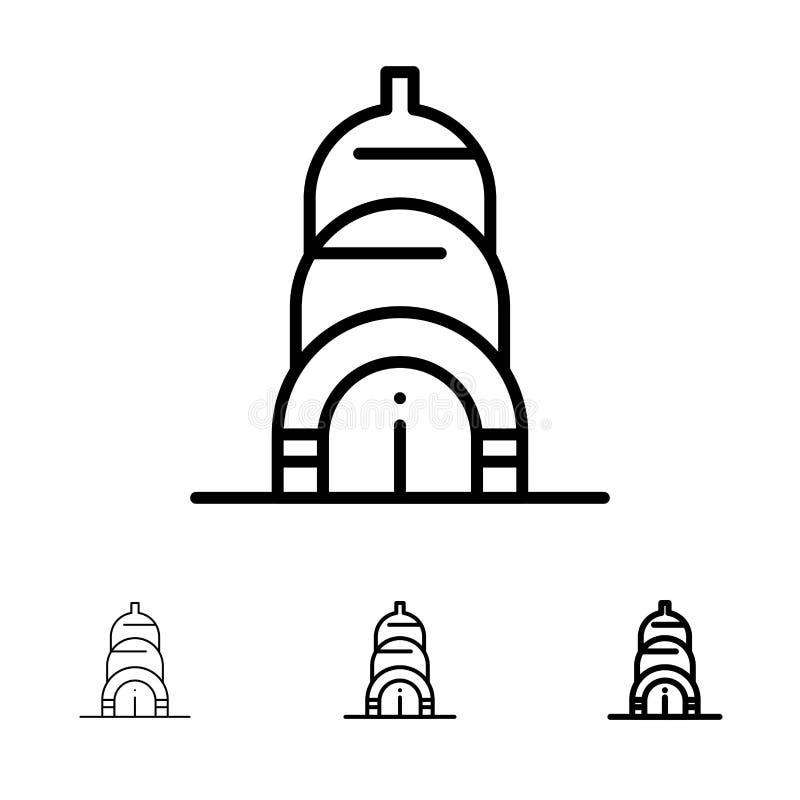 Chrysler, Building, Usa Bold and thin black line icon set stock illustration