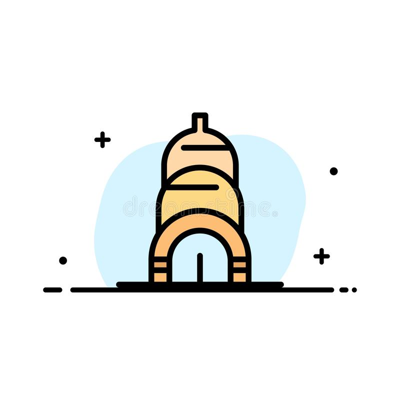 Chrysler, Building, Usa  Business Flat Line Filled Icon Vector Banner Template stock illustration