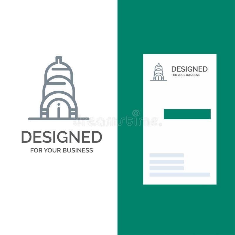 Chrysler, Building, Usa Grey Logo Design and Business Card Template stock illustration