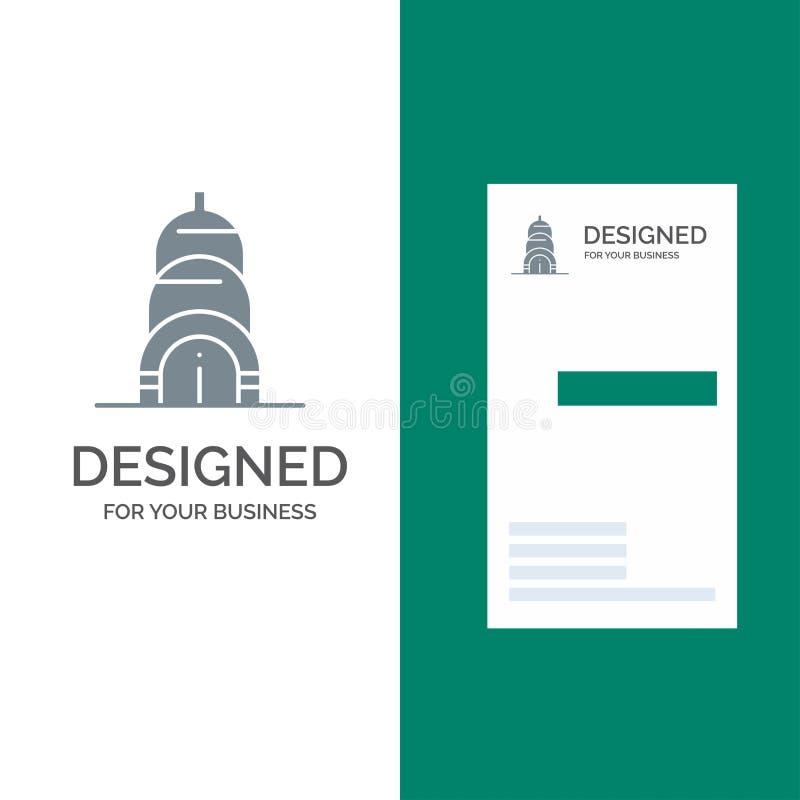 Chrysler, Building, Usa Grey Logo Design and Business Card Template vector illustration
