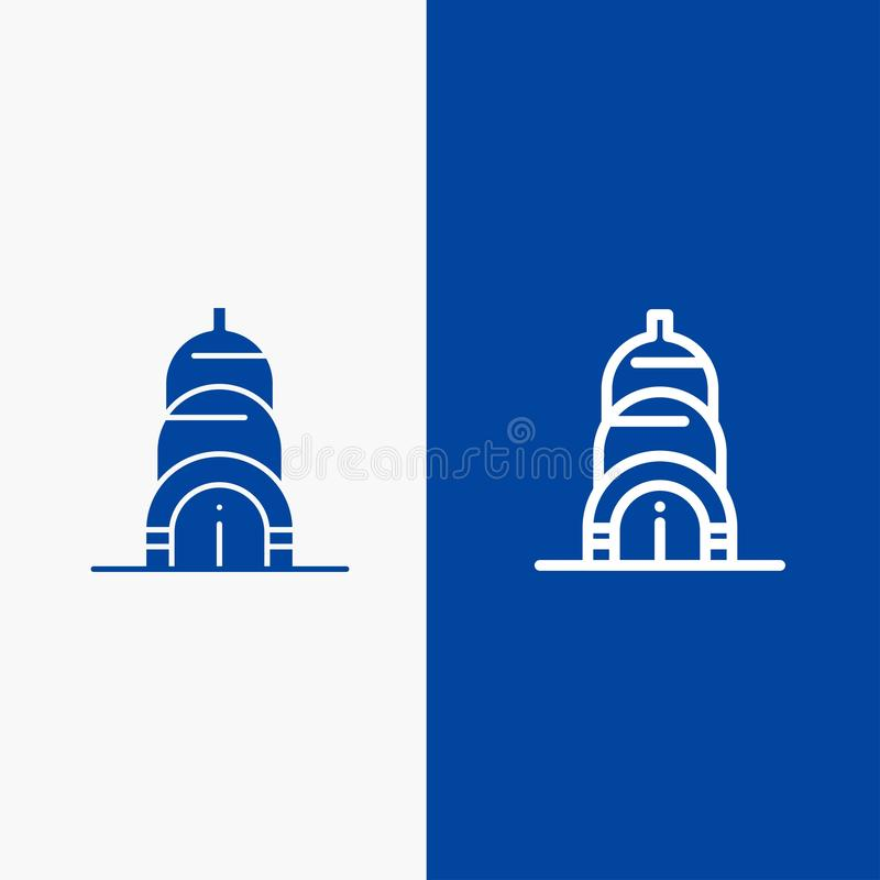 Chrysler, Building, Usa Line and Glyph Solid icon Blue banner Line and Glyph Solid icon Blue banner stock illustration