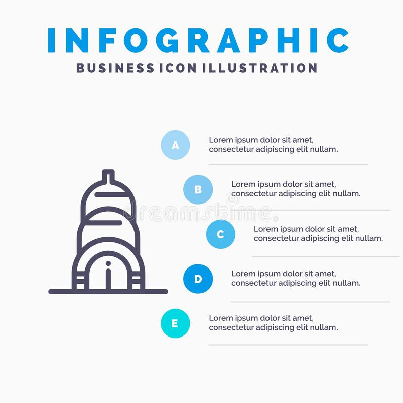 Chrysler, Building, Usa Line icon with 5 steps presentation infographics Background royalty free illustration