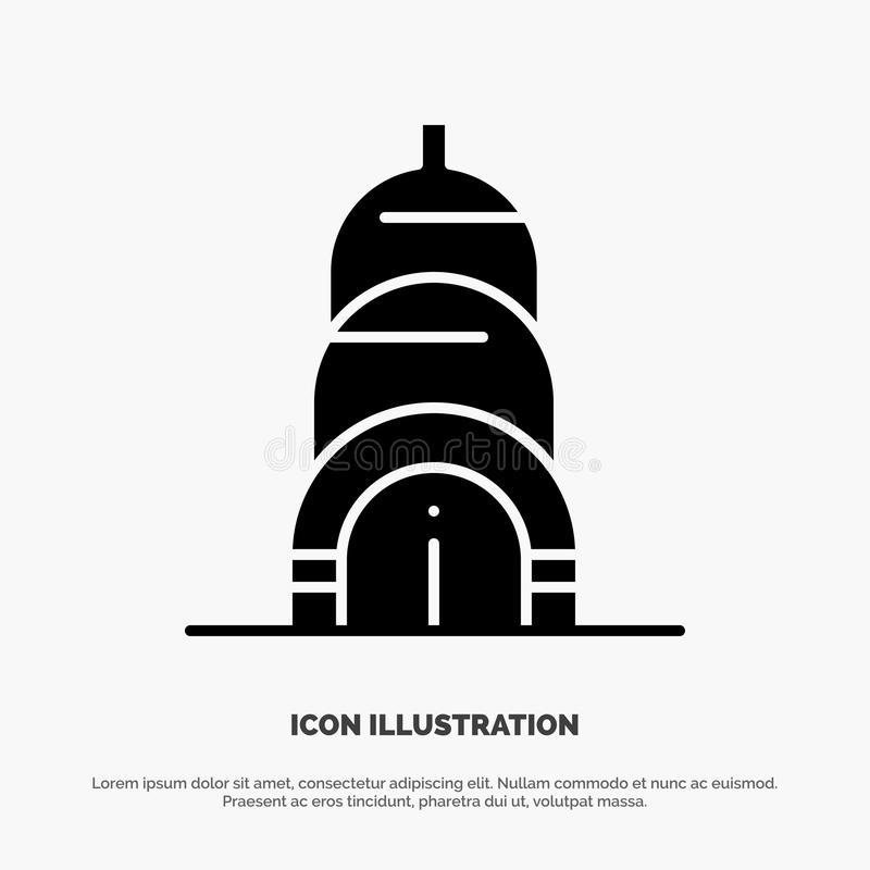 Chrysler, Building, Usa solid Glyph Icon vector royalty free illustration