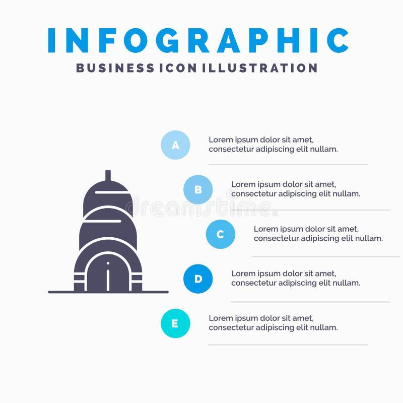 Chrysler, Building, Usa Solid Icon Infographics 5 Steps Presentation Background royalty free illustration