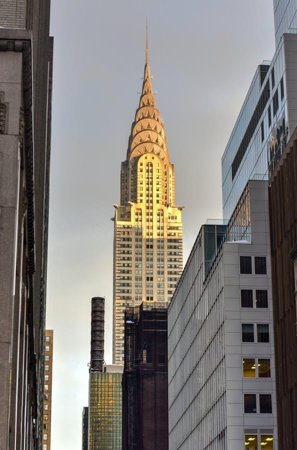 Chrysler-de Bouw bij zonsondergang, de Stad van New York stock afbeeldingen