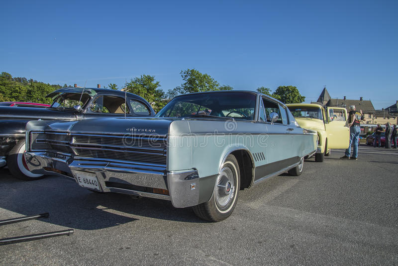1968 Chrysler 300 2 Door Hardtop. Every Wednesday during the months of May to August there is a veteran car meeting with American cars at the fish market in stock photography