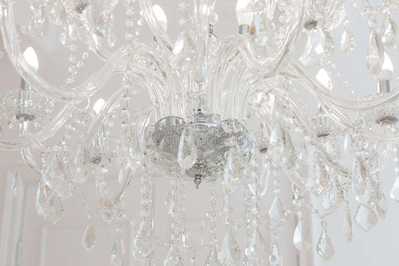 Chrystal chandelier close-up. stock photo
