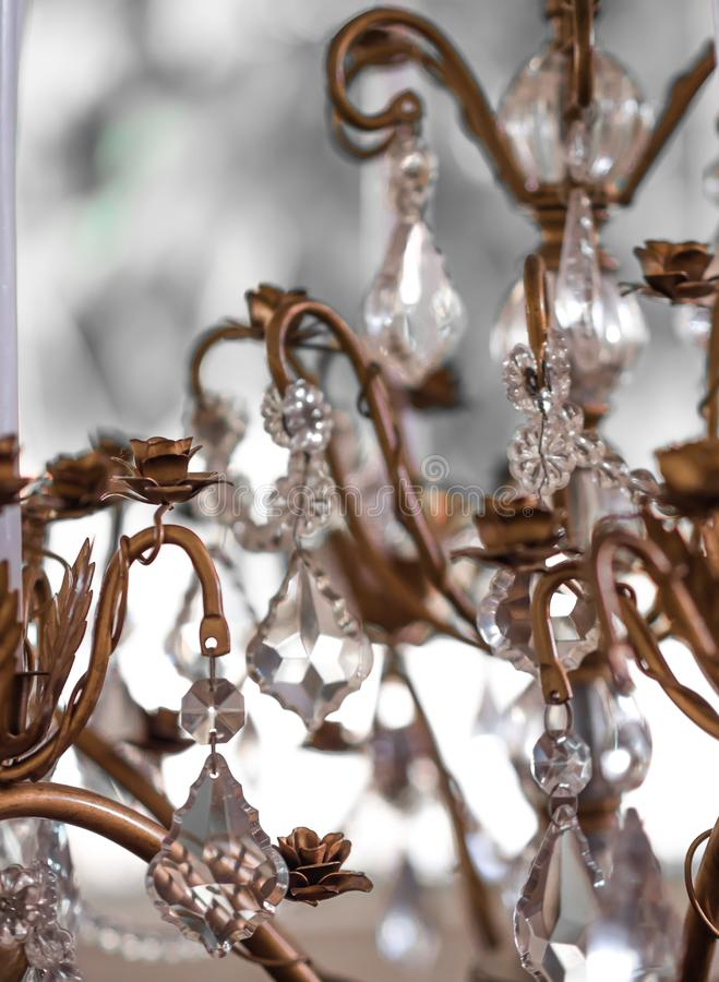 Chrystal chandelier Vintage crystal lamp details. Close-up. Glamour background with copy space.soft focus royalty free stock photography