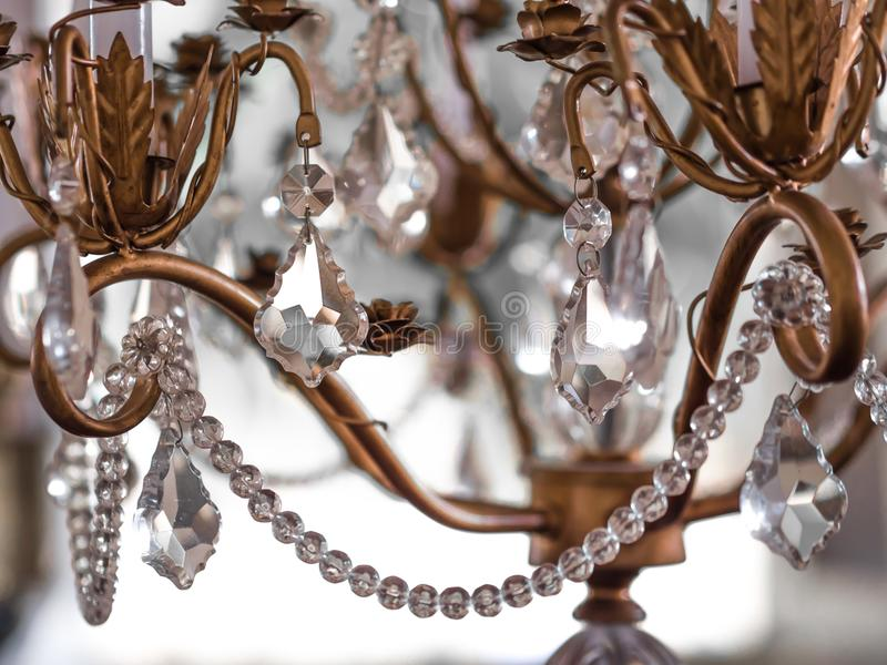 Chrystal chandelier Vintage crystal lamp details. Close-up. Glamour background with copy space.soft focus stock images
