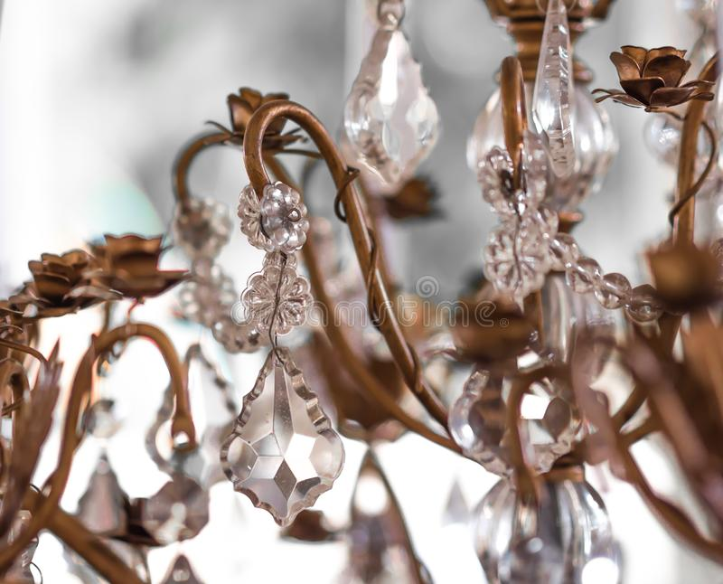 Chrystal chandelier Vintage crystal lamp details. Close-up. Glamour background with copy space.soft focus stock image