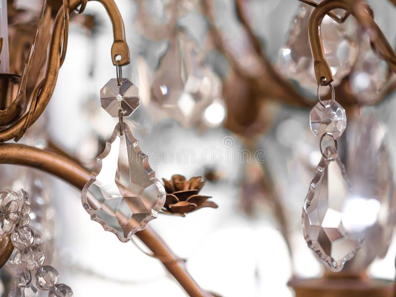 Chrystal chandelier Vintage crystal lamp details. Close-up. Glamour background with copy space.soft focus stock photo