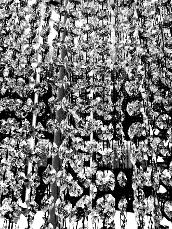Chrystal and lights in black and white. Reflection royalty free stock image