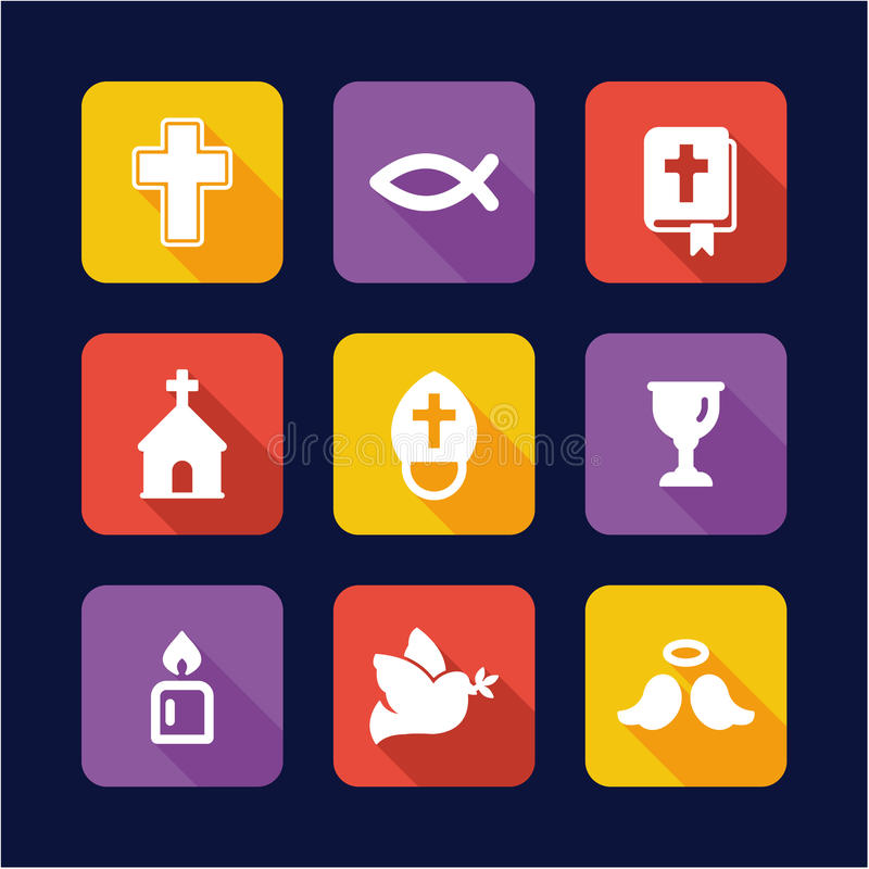 Chrystianizm ikon Płaski projekt ilustracja wektor