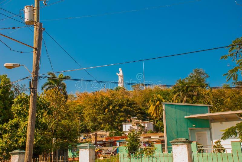 Chrystus Hawański jest statuą Jilma Madera Kuba który przegapia zatoki w Hawańskim, zdjęcie royalty free