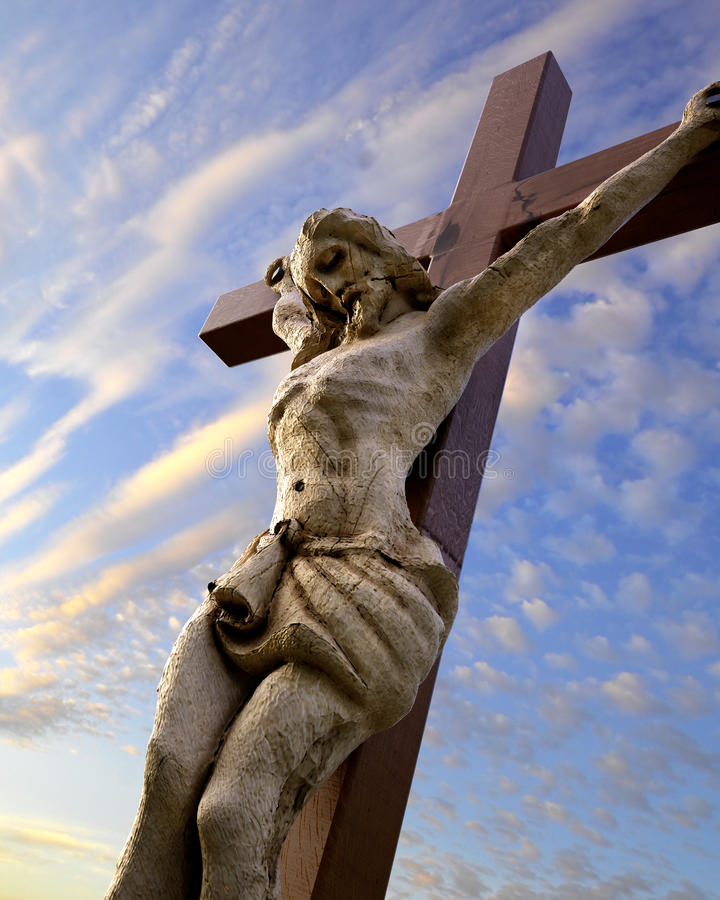 Chrystus krucyfiks pod niebem royalty ilustracja