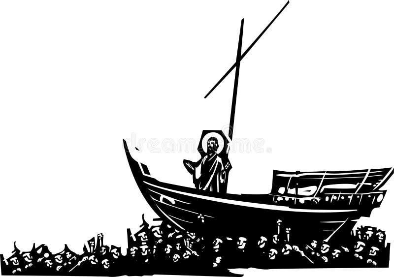 Chrystus na łodzi ilustracja wektor