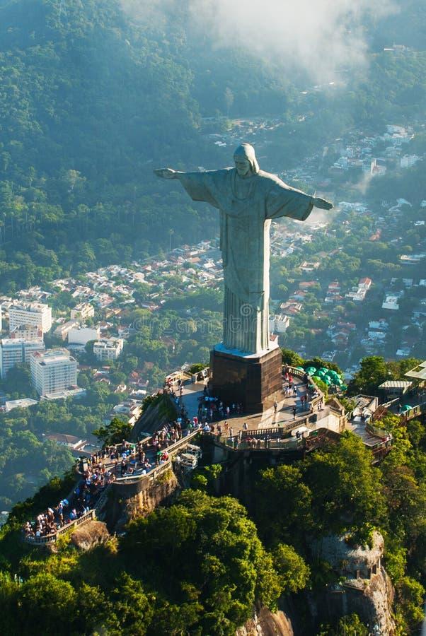 Chrystus odkupiciel statua na wierzchołku góra, Rio De Janeiro, Brazylia zdjęcie stock