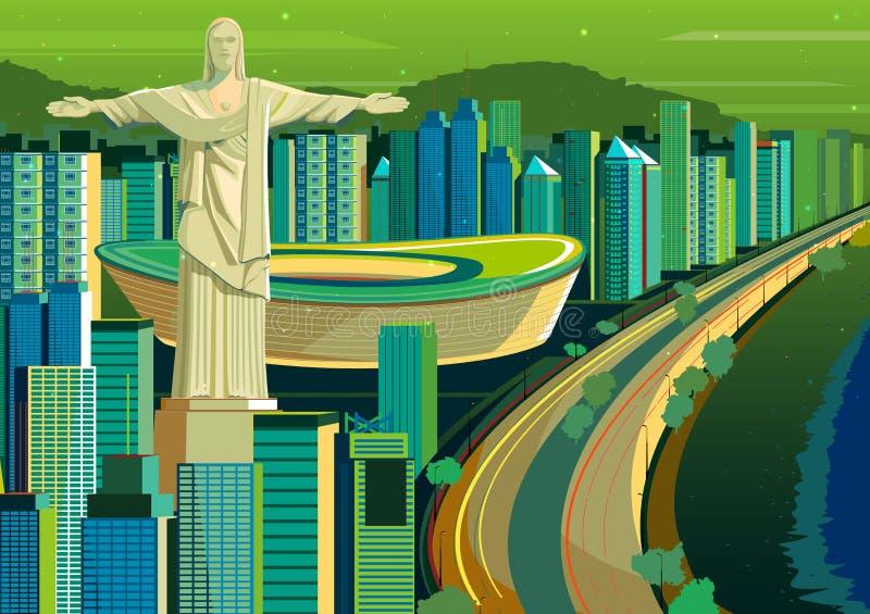Chrystus odkupiciel statua w Brazylia ilustracji