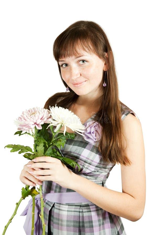 chryzantem kwiatu dziewczyna fotografia royalty free
