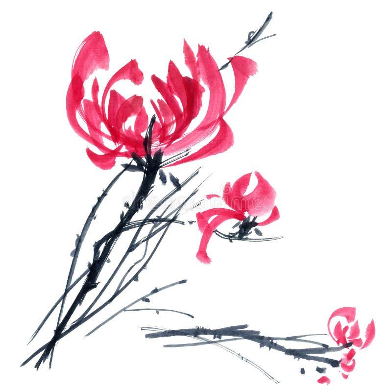 Chryzantema czerwony bukiet ilustracja wektor