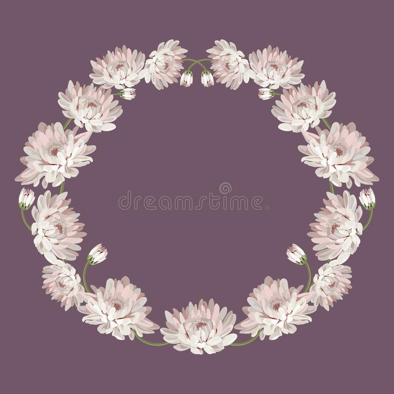 chryzantemy Dekoracyjna okrąg rama z kwiatami dla twój projekta Kwiecisty karciany szablon również zwrócić corel ilustracji wekto ilustracja wektor