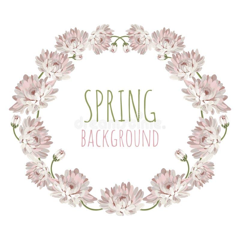 chryzantemy Dekoracyjna okrąg rama z kwiatami dla twój projekta Kwiecisty karciany szablon również zwrócić corel ilustracji wekto royalty ilustracja