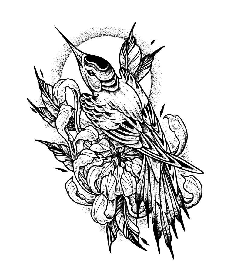 Chryzantemy i Hummingbird tatuaż Kropki praca, psychodeliczna, zentangle styl również zwrócić corel ilustracji wektora ilustracji