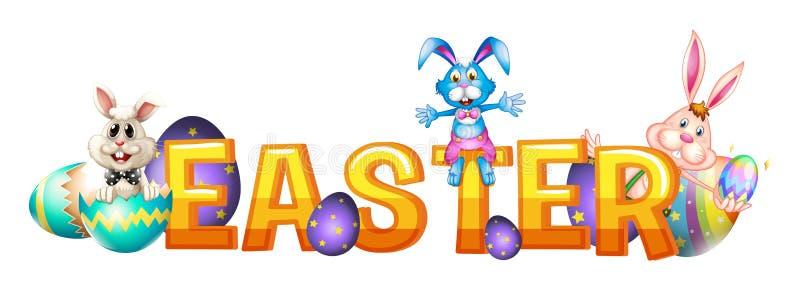 Chrzcielnica projekt dla słowa Easter z królikami i jajkami royalty ilustracja