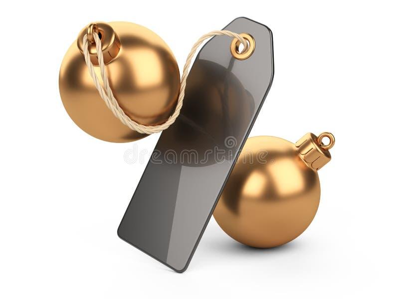 Chrzcielnica złote choinek dekoracje bawi się z etykietką Duży procentu znak - dyskontowy pojęcie royalty ilustracja
