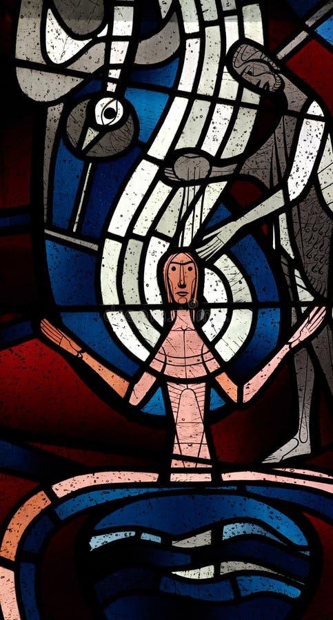 Chrzczenie Jezus w witrażu zdjęcia royalty free