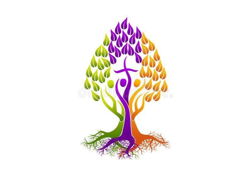 Chrześcijańscy ludzie logów, korzeniowy ikona świętego ducha drzewo, rodzinny kościelny wektorowy symbolu projekt royalty ilustracja