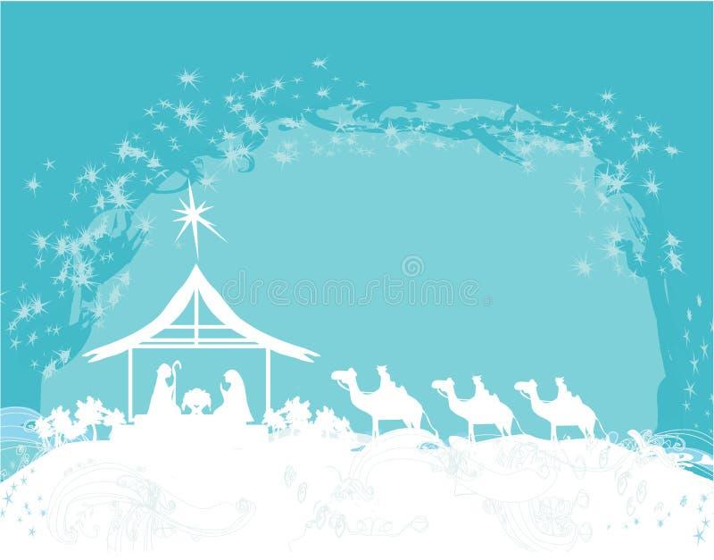 Chrześcijańska Bożenarodzeniowa narodzenie jezusa scena dziecko Jezus w żłobie ilustracji