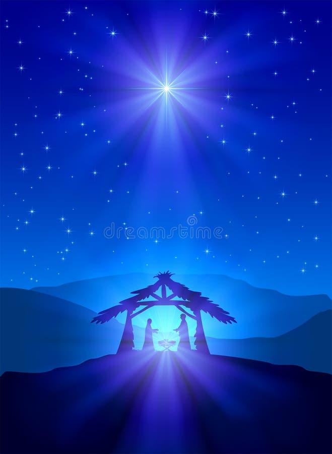 Chrześcijańska Bożenarodzeniowa noc royalty ilustracja