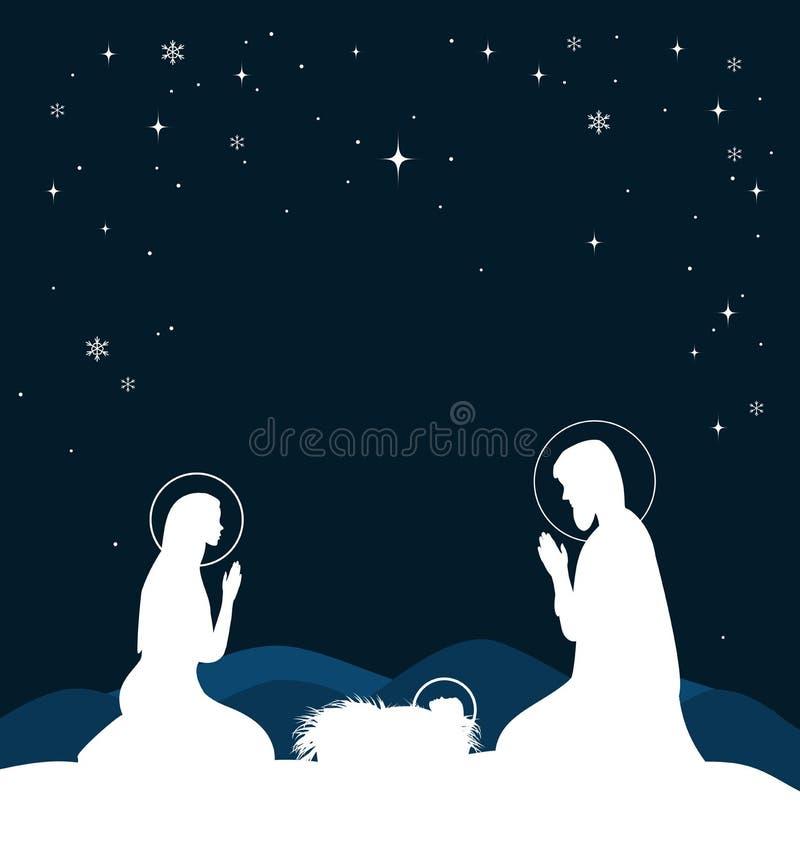 Chrześcijańska Bożenarodzeniowa scena z narodziny Jezus i jaśnienie gramy główna rolę na niebieskim niebie, ilustracja ilustracja wektor