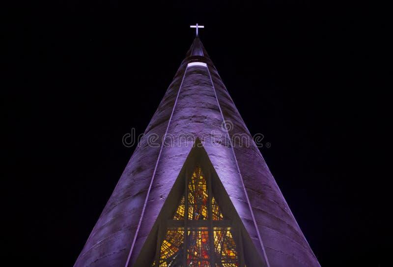 Chrześcijańska katedra przy nocą w Ameryka Południowa obrazy royalty free
