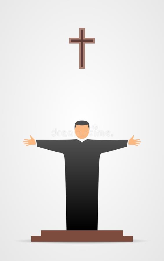 Chrześcijańska kaznodziei ikona royalty ilustracja