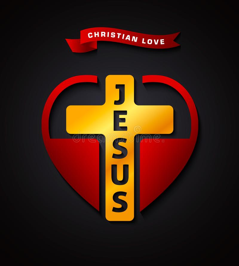 Chrześcijańska miłość Jezus, kreatywnie projekta symbol royalty ilustracja