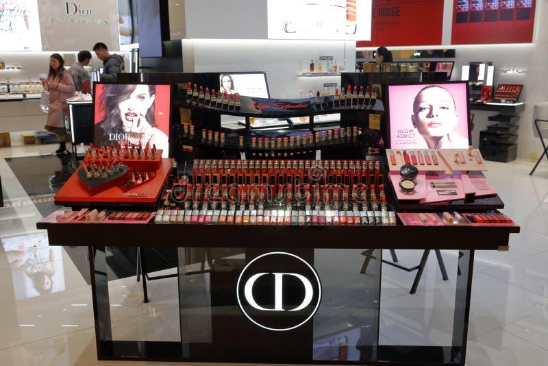 Chrześcijański dior kosmetyka kontuar, adobe rgb fotografia stock
